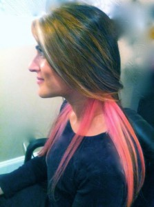 pink hair highlights on dirty blonde hair