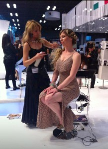 Andrea working with hair show model
