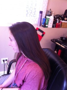 long brunette with keratin treatment