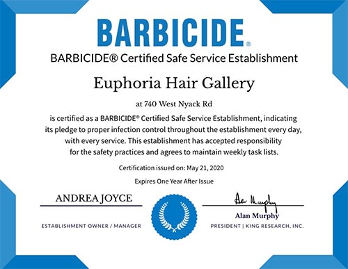 Hair by Andrea Barbicide Certificate