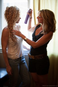 Andrea working with model
