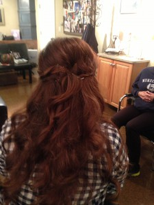 curly strawberry hair extensions New Synergy Salon New City NY