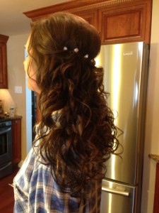 bride with curly extensions