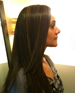 brunette extensions sideview