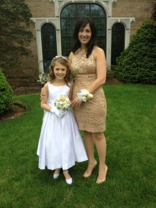 Woman and flower girl at wedding